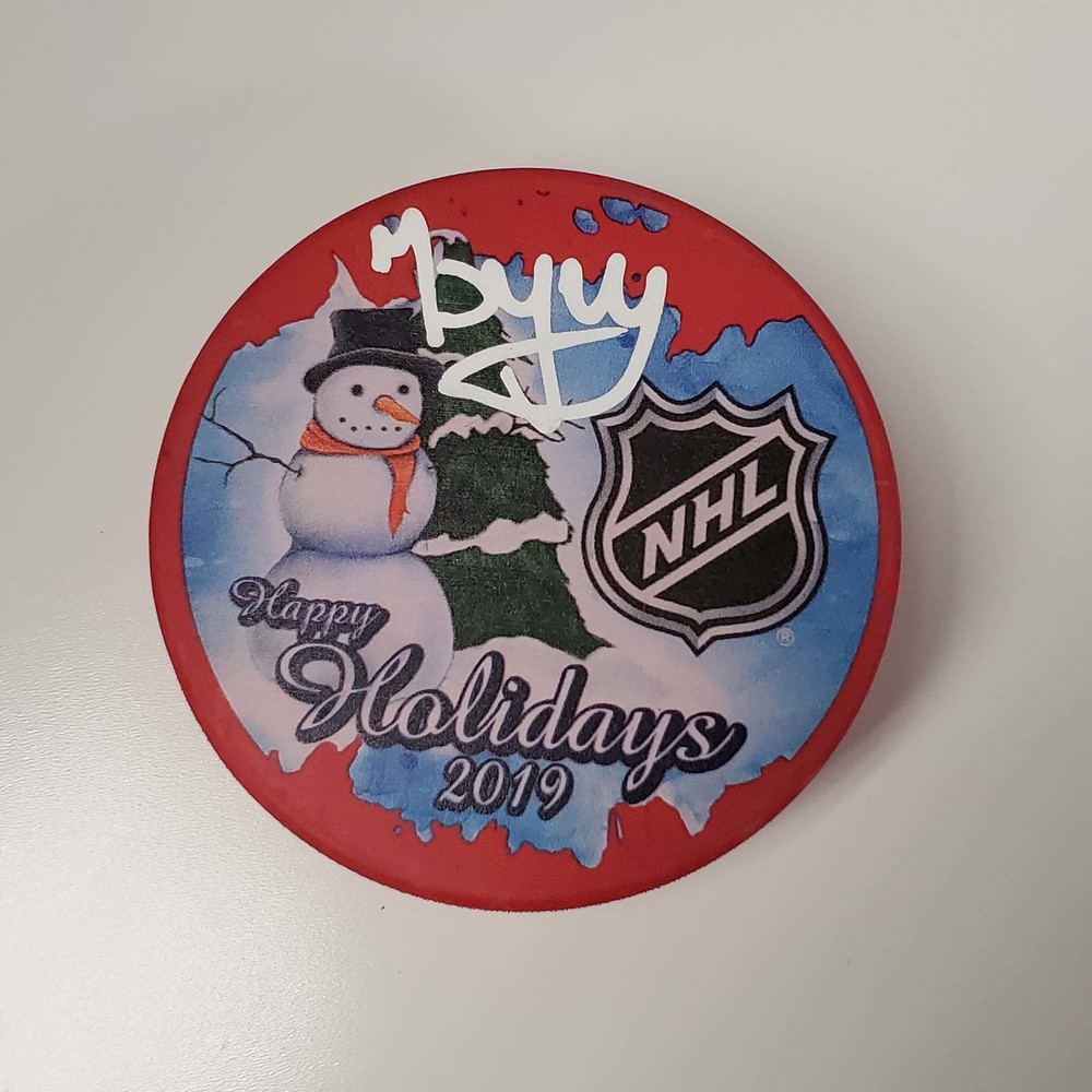 Pavel Buchnevich New York Rangers Autographed Inglasco 2019 Happy Holidays Hockey Puck - NHL Auctions Exclusive