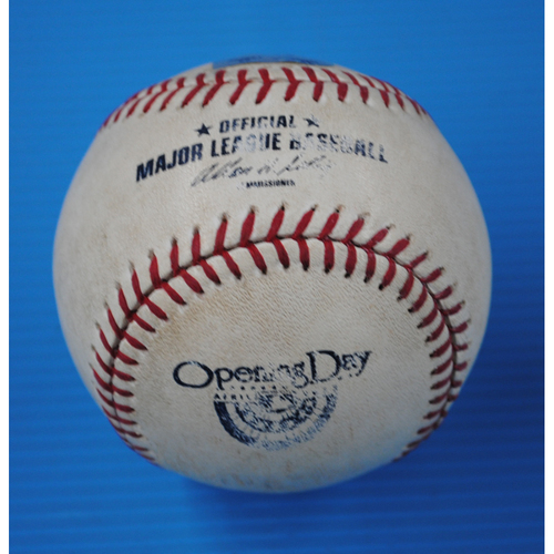 Photo of Game-Used Padres Home Opener Baseball - Dodgers @ Padres - Batter - Adrian Gonzalez, Pitcher - Clayton Richard - Top of 5th, Flied Out - 4/9/13