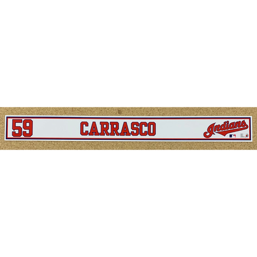 Photo of Carlos Carrasco 2020 Spring Training Game-Used Locker Name Plate
