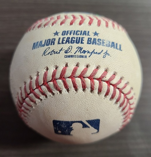 Photo of Authenticated Game Used Baseball: Foul by Travis Shaw against Jacob deGrom (Sep 11, 2020 vs NYM). Bottom 4. Game played in Buffalo.