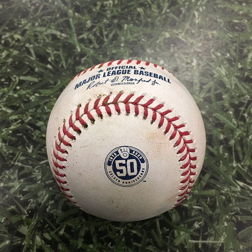 Photo of Game-Used Baseball MIN@MIL 08/12/20 - Lewis Thorpe - Luis Urias: Single