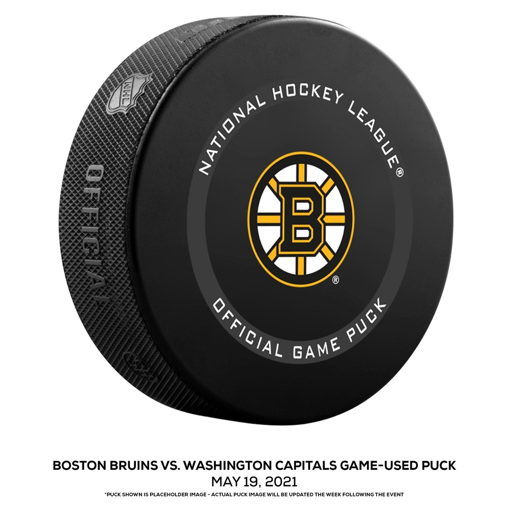 Boston Bruins vs. Washington Capitals Game-Used Puck from Game 3 of the First Round of the 2021 Stanley Cup Playoffs on May 19, 2021