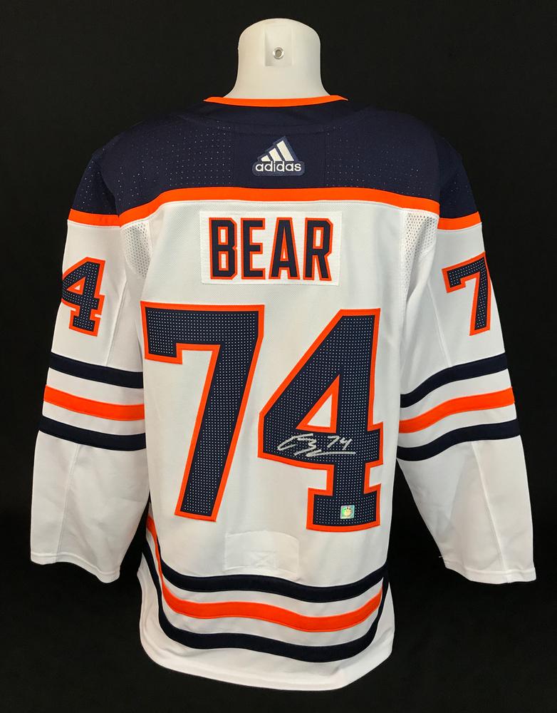 Ethan Bear #74 - Autographed Edmonton Oilers White Adidas Retail Pro Authentic Jersey