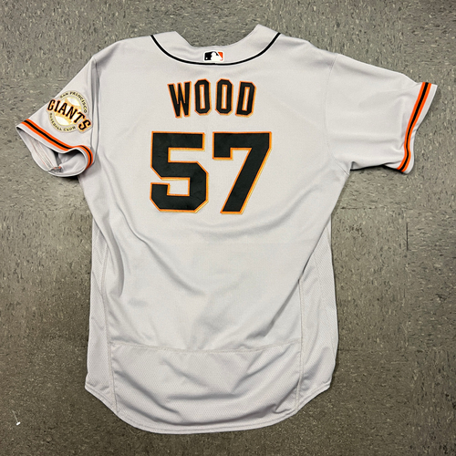 Photo of 2021 Game Used Road Jersey worn by #57 Alex Wood on 5/4 @ COL (Game 2) - 5.0 IP, 2 K's - Size 48
