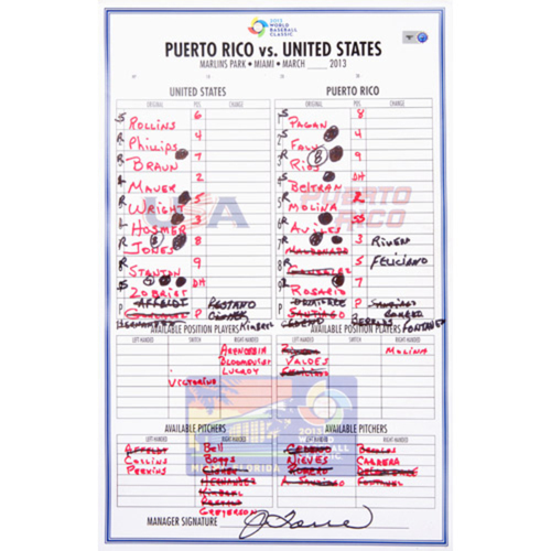 2013 WBC: Round 2 - Puerto Rico vs. United States Game-Used Line-up Card