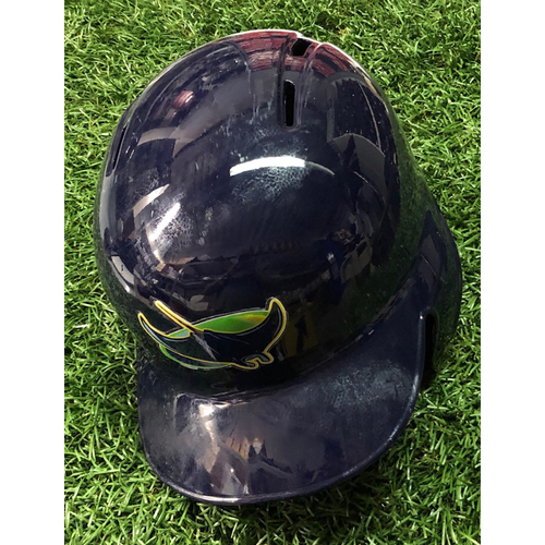 2018 Game Used Devil Rays Helmet (size 7 3/8): Adam Moore - September 30, 2018