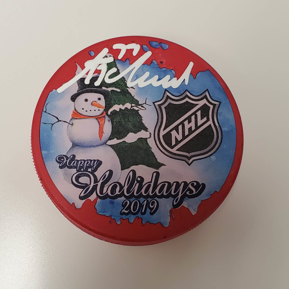 Tony DeAngelo New York Rangers Autographed Inglasco 2019 Happy Holidays Hockey Puck - NHL Auctions Exclusive