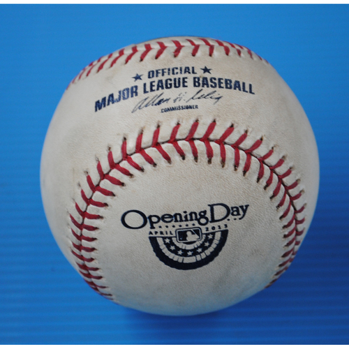 Photo of Game-Used Opening Day Baseball - Orioles @ Rays - Batter - Manny Machado, Pitcher - David Price - Top of 1st, Foul Tip off Catchers Mask - 4/2/13