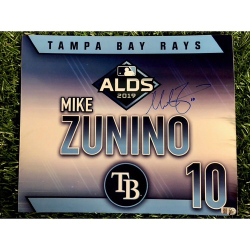 Photo of Game Used ALDS Autographed Locker Tag: Mike Zunino - October 7, 2019 v HOU