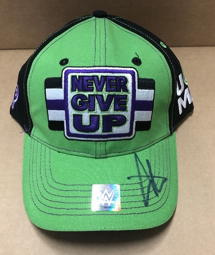 """Photo of John Cena SIGNED """"Never Give Up"""" Green Hat"""