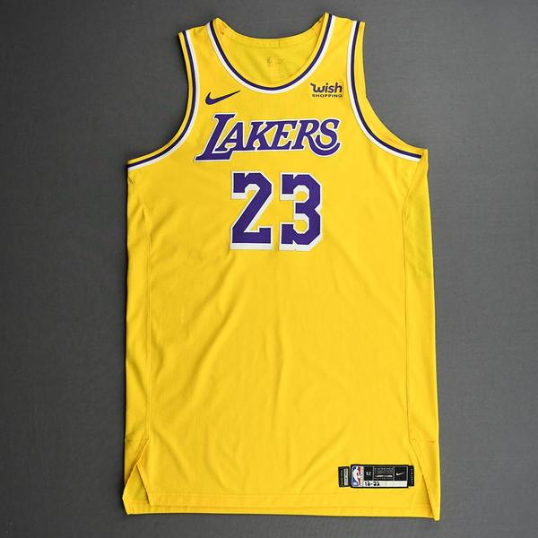 Image of LeBron James - Los Angeles Lakers - Kia NBA Tip-Off 2020 - Game-Worn Icon Edition Jersey - Scored Team-High 22 Points