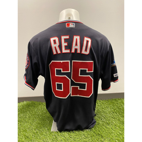 Photo of Team-Issued Raudy Read 2019 Navy Script Jersey with Postseason Patch