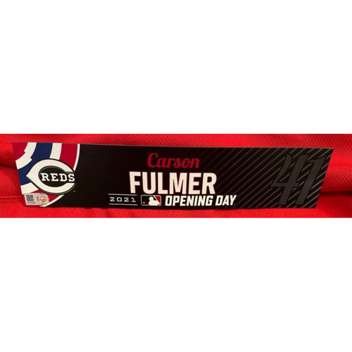 Carson Fulmer -- 2021 Opening Day Locker Tag -- Game-Used -- Cardinals vs. Reds on 4/1/21