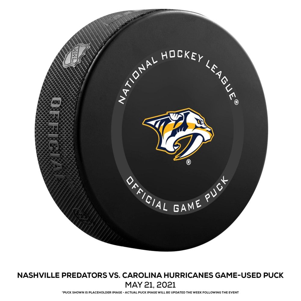 Nashville Predators vs. Carolina Hurricanes Game-Used Puck from Game 3 of the First Round of the 2021 Stanley Cup Playoffs on May 21, 2021