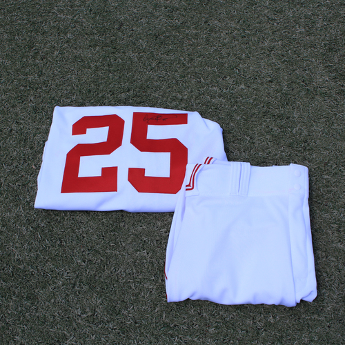 Photo of Game-Used & Autographed Monarchs Jersey & Game-Used Pants: Vance Wilson #25 (DET @ KC 5/23/21) - Size 50
