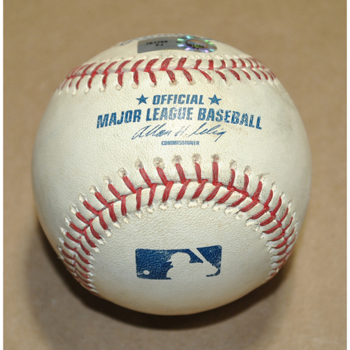 Photo of Game-Used Baseball - 2011 ALCS Game 6 - Detroit Tigers vs. Texas Rangers - Batter: Nelson Cruz, Pitcher: Ryan Perry, Ball, Bot 4