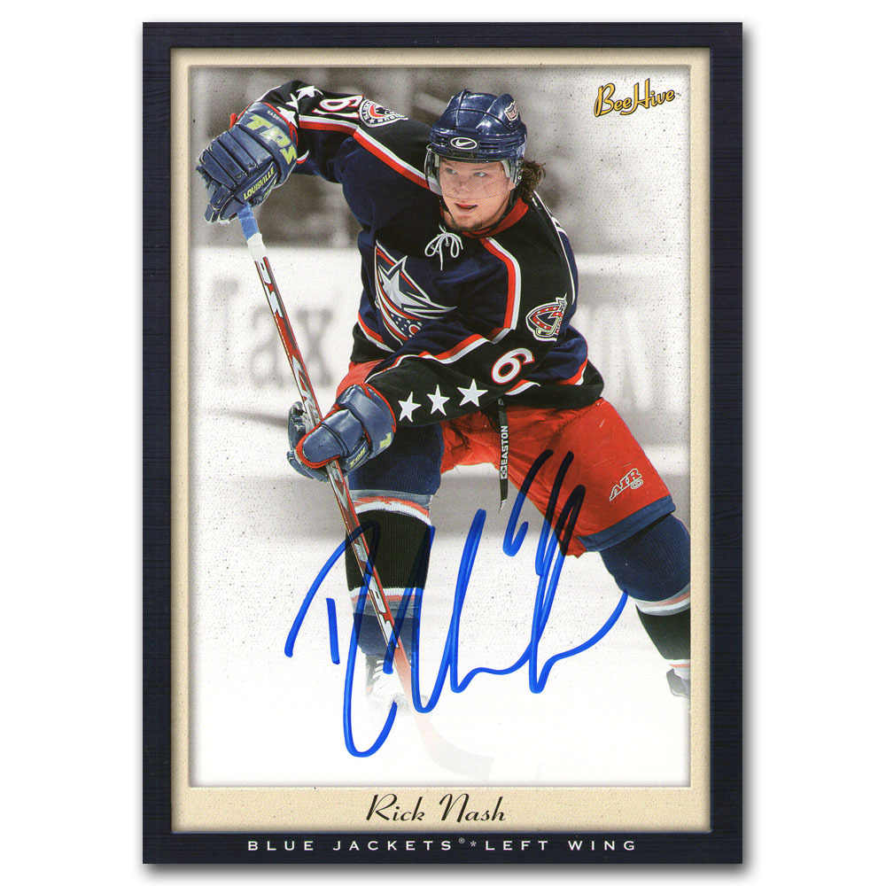 Rick Nash Autographed Columbus Blue Jackets 2005-06 Upper Deck BeeHive Oversized Hockey Card
