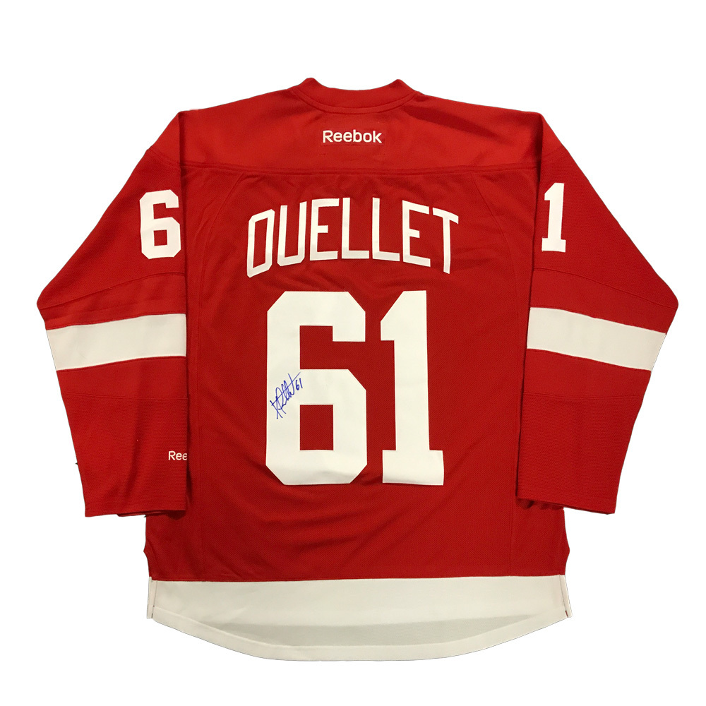 XAVIER OUELLET Signed Detroit Red Wings Red Reebok Jersey