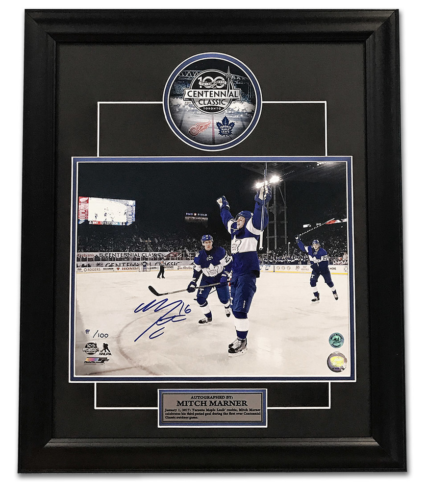 Mitch Marner Toronto Maple Leafs Signed 2017 Centennial Classic 23x19 Frame /100