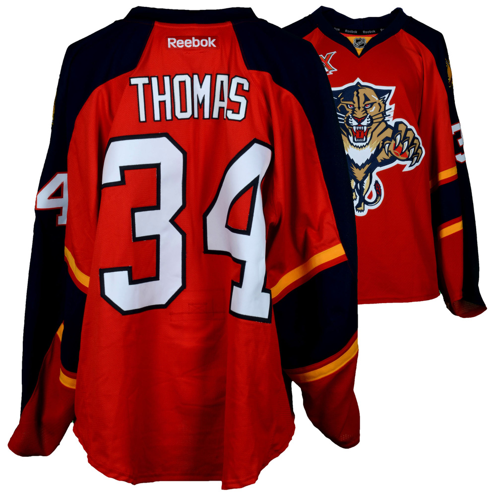 Tim Thomas Florida Panthers Game-Used #34 Red Jersey from the 2013-14 NHL Season - Size 58