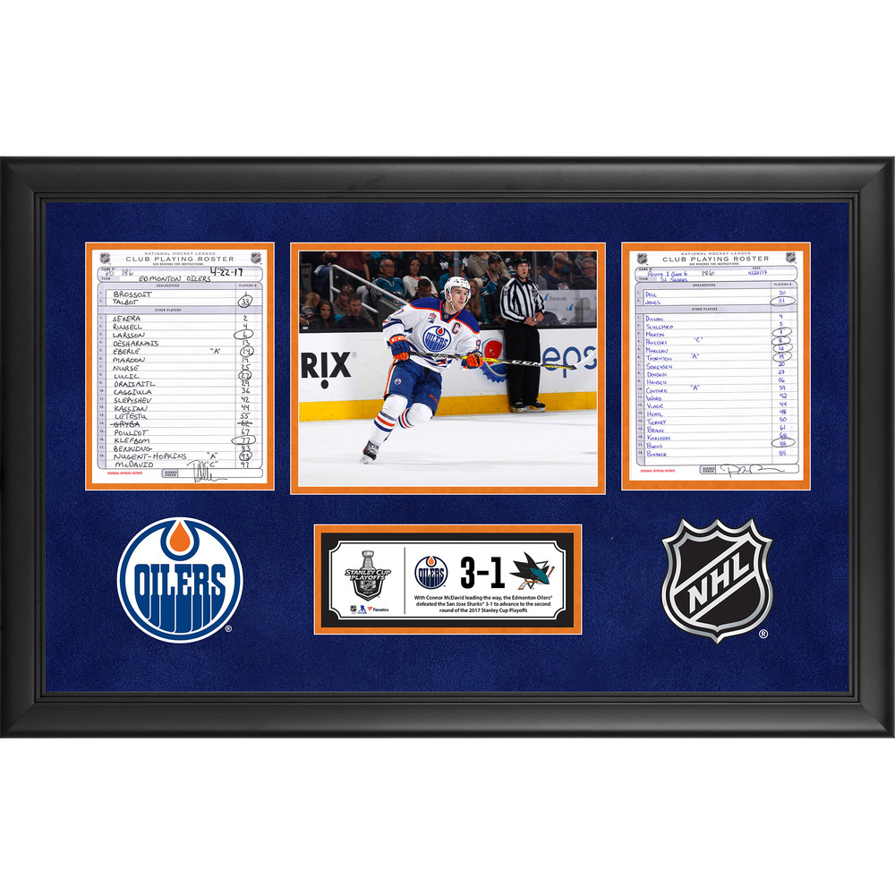 Edmonton Oilers Framed Game-Used Playoffs Game 6 Line-Up Cards, April 22, 2017 vs. San Jose Sharks - Connor McDavid Leads Edmonton Oilers to Series Clinch