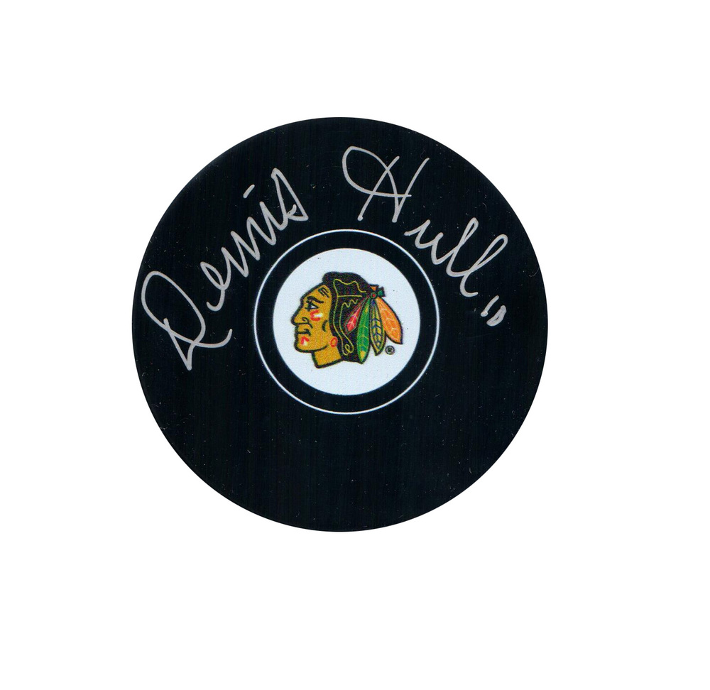 Denis Hull Signed Puck Blackhawks