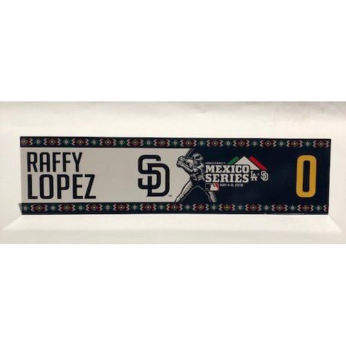 Photo of 2018 Mexico Series - Raffy Lopez Game-Used Locker Tag