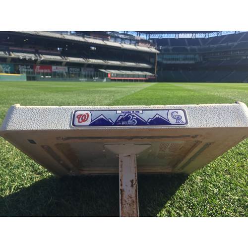 Photo of Colorado Rockies Game-Used 1st Base (Innings 7-9) - Rockies v. Nationals- Charlie Blackmon Hit For Cycle - September 30, 2018