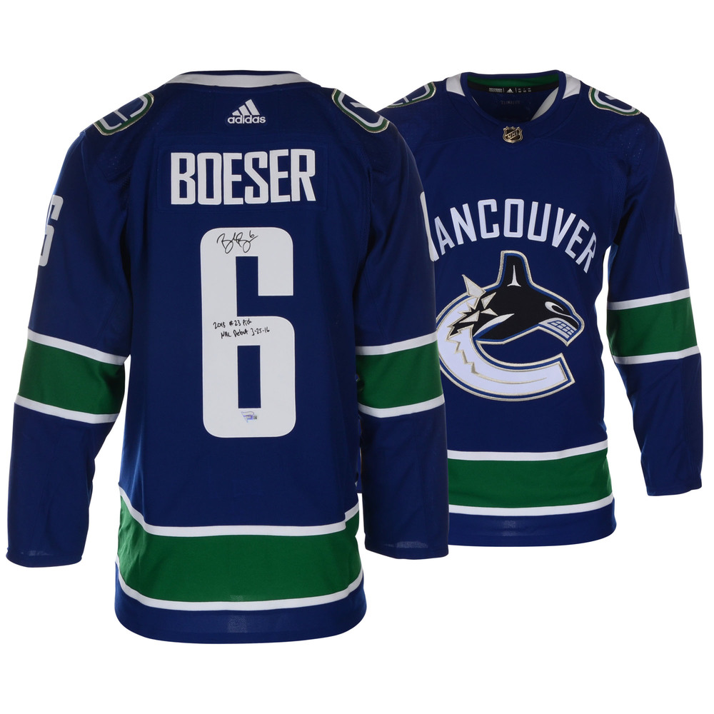 0c99bf5bdef Brock Boeser Vancouver Canucks Autographed Blue Adidas Authentic Jersey  with Multiple Inscriptions - L.E. 1 of 6