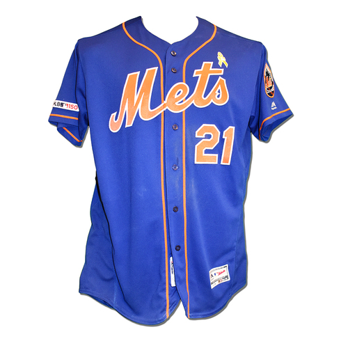 Photo of Todd Frazier #21 - Game-Used Blue Alt. Home Jersey - Mets vs. Phillies - 9/7/19