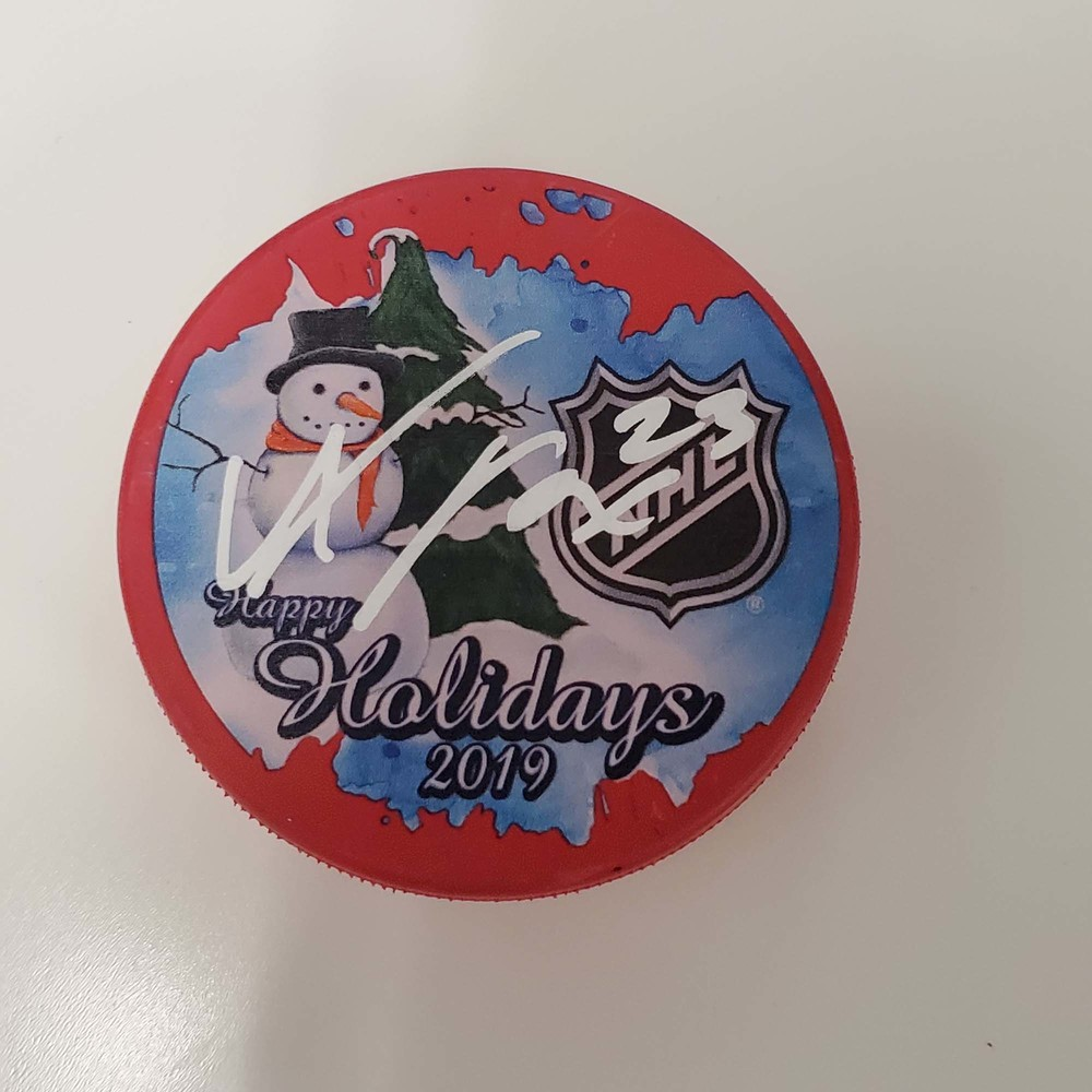 Adam Fox New York Rangers Autographed Inglasco 2019 Happy Holidays Hockey Puck - NHL Auctions Exclusive