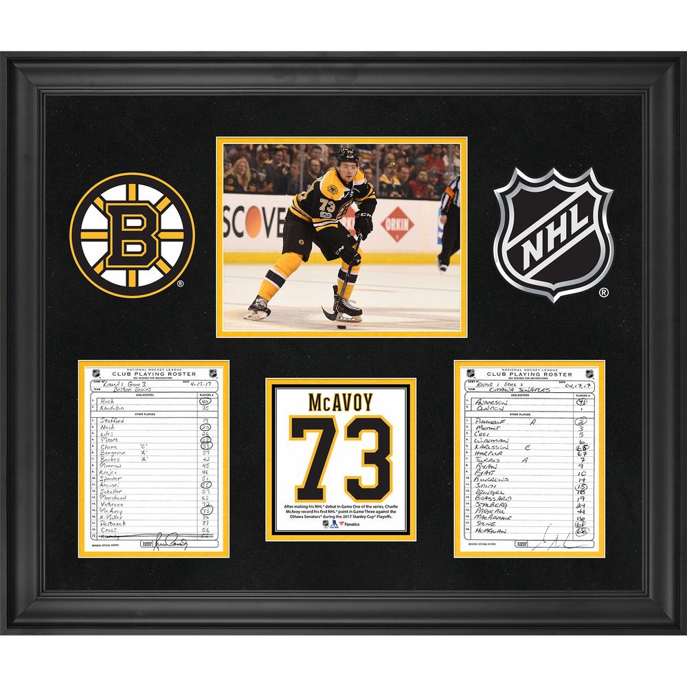 Boston Bruins Framed Original Line-Up Cards from April 17, 2017 vs. Ottawa Senators - Charlie McAvoy First NHL Point