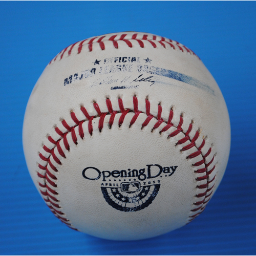Photo of Game-Used Opening Day Baseball - Braves @ Marlins - Batter - Greg Dobbs, Pitcher - Paul Maholm - Bottom of 3, Pitch in the Dirt - 4/8/13