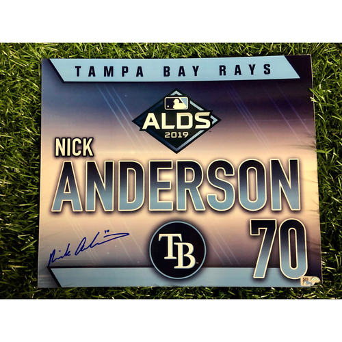 Photo of Game Used ALDS Autographed Locker Tag: Nick Anderson - October 7, 2019 v HOU