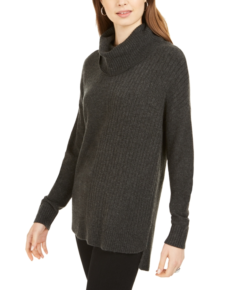 Photo of Style & Co Mixed-Stitch Ribbed Turtleneck Tunic Sweater