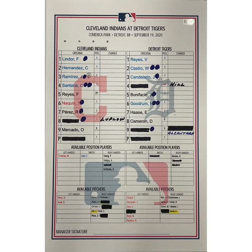 Photo of Game Used Lineup Card- 9/19/2020 Indians at Tigers