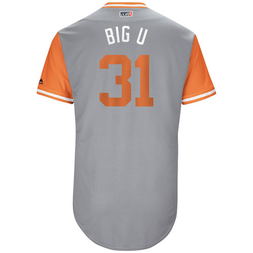 """Photo of Ubaldo """"Big U"""" Jimenez Baltimore Orioles 2017 Game-Used Players Weekend Jersey"""