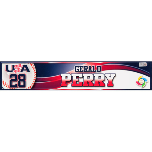 2013 WBC: USA Game-Used Locker Name Plate - #28 Gerald Perry