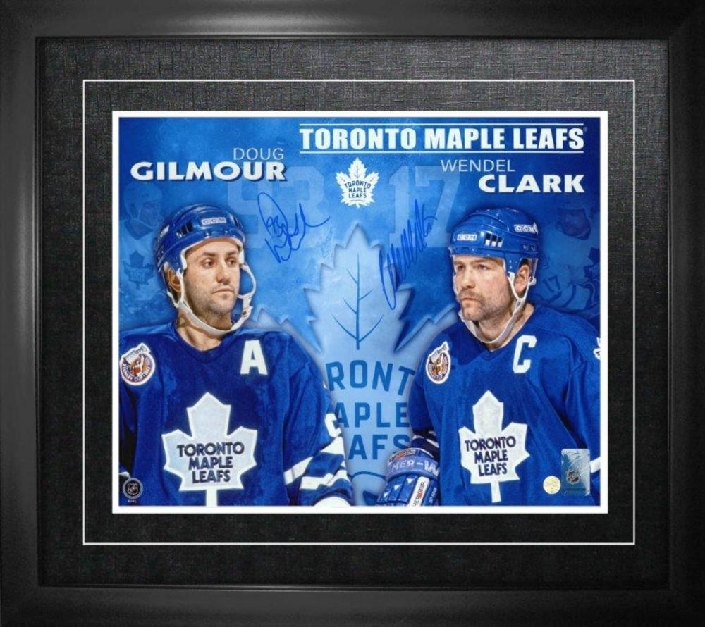 Doug Gilmour/ Wendel Clark Dual Signed 11x14 Framed Leafs Blue Collage-H