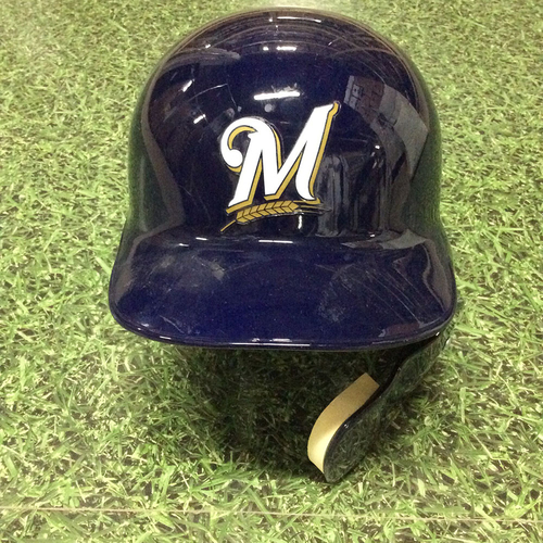"Photo of Jonathan Villar 2016 Navy ""M"" Logo Batting Helmet With Jaw Guard"