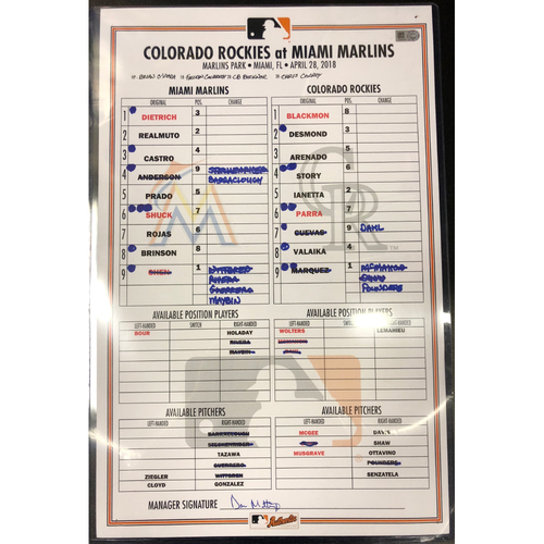 Photo of Game-Used Line-Up Card: Marlins vs Rockies (Wei-Yin Chen's First Win of 2018, 200th Career Game verses each other)