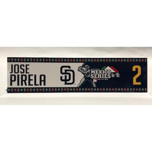 Photo of 2018 Mexico Series - Jose Pirela Game-Used Locker Tag