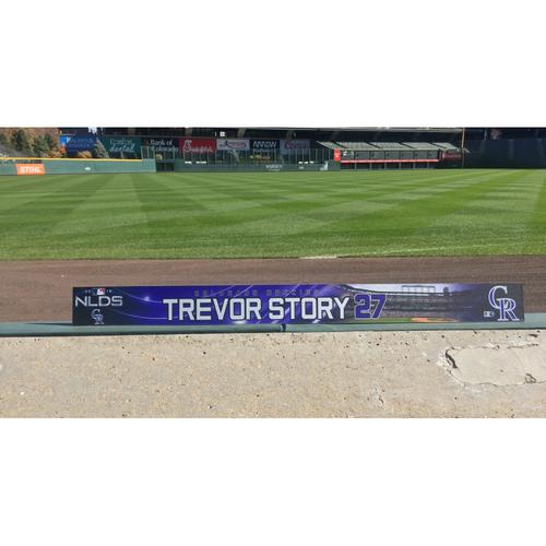 Photo of Colorado Rockies Game-Used Locker Tag - Trevor Story NLDS Locker Tag - October 7, 2018