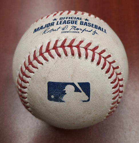 Photo of Authenticated Game Used Baseball: Kevin Pillar Doubles Against Clay Buchholz (Apr 24, 19 vs SF). Top 5. Kevin Pillar return to Toronto Series.