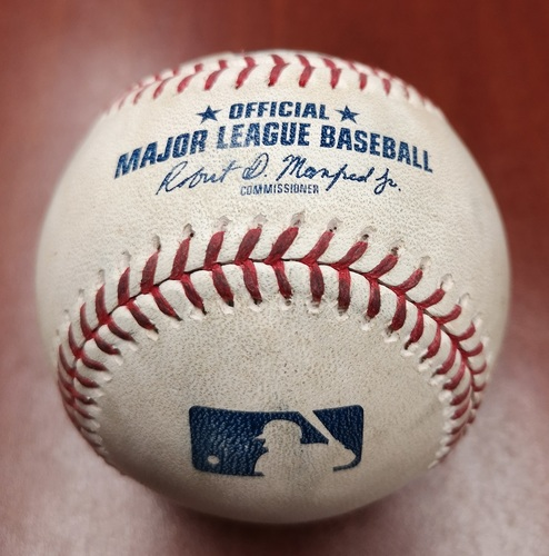 Photo of Authenticated Game Used Baseball - Joe Biagini strikes out Michael Chavis (May 21, 19 vs BOS). Top 8