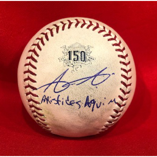 Photo of Aristides Aquino -- Autographed -- Pitch to Aquino From 3-Homer Game (Ball) -- Ties Major League Record with 7 Homers in First 10 Career Games