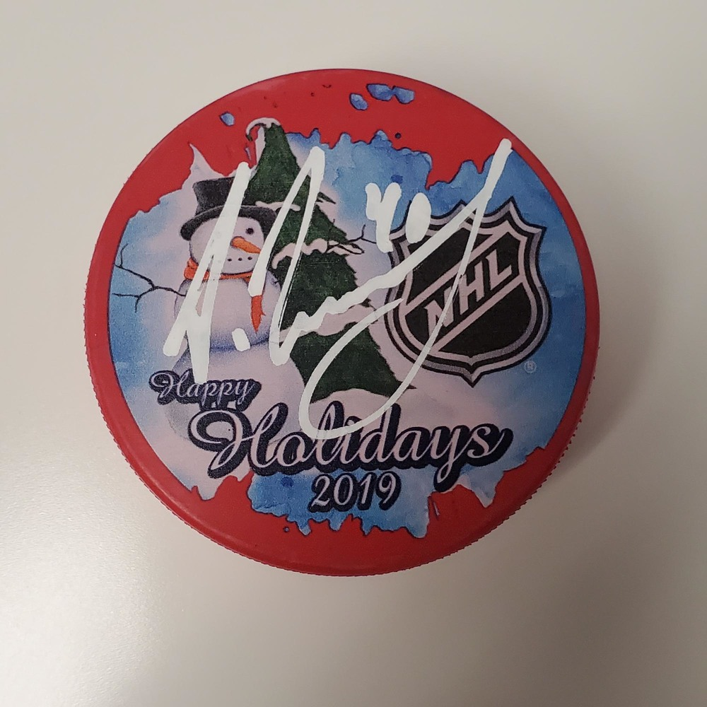 Alexandar Georgiev New York Rangers Autographed Inglasco 2019 Happy Holidays Hockey Puck - NHL Auctions Exclusive