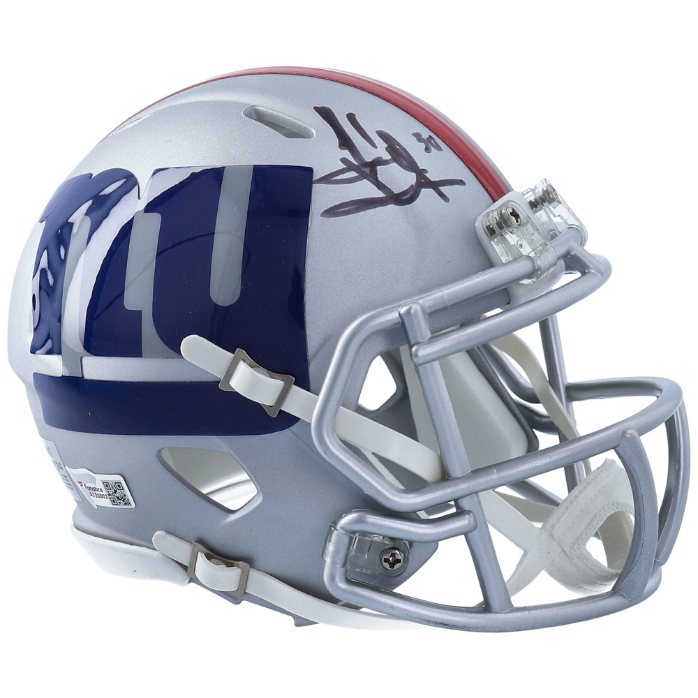 Henrik Lundqvist New York Rangers Autographed New York Giants AMP Mini Helmet - NHL Auctions Exclusive
