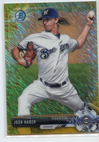 Photo of 2017 Bowman Chrome Prospects Gold Shimmer Refractors #BCP106 Josh Hader 07/50