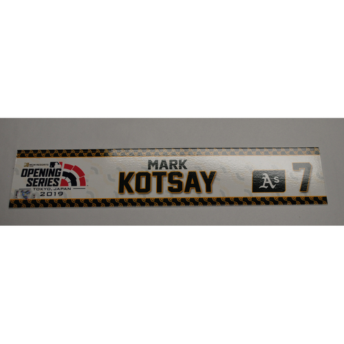 Photo of 2019 Japan Opening Series - Game-Used Locker Tag: Mark Kotsay - Mariners @ Athletics - 3/20/19